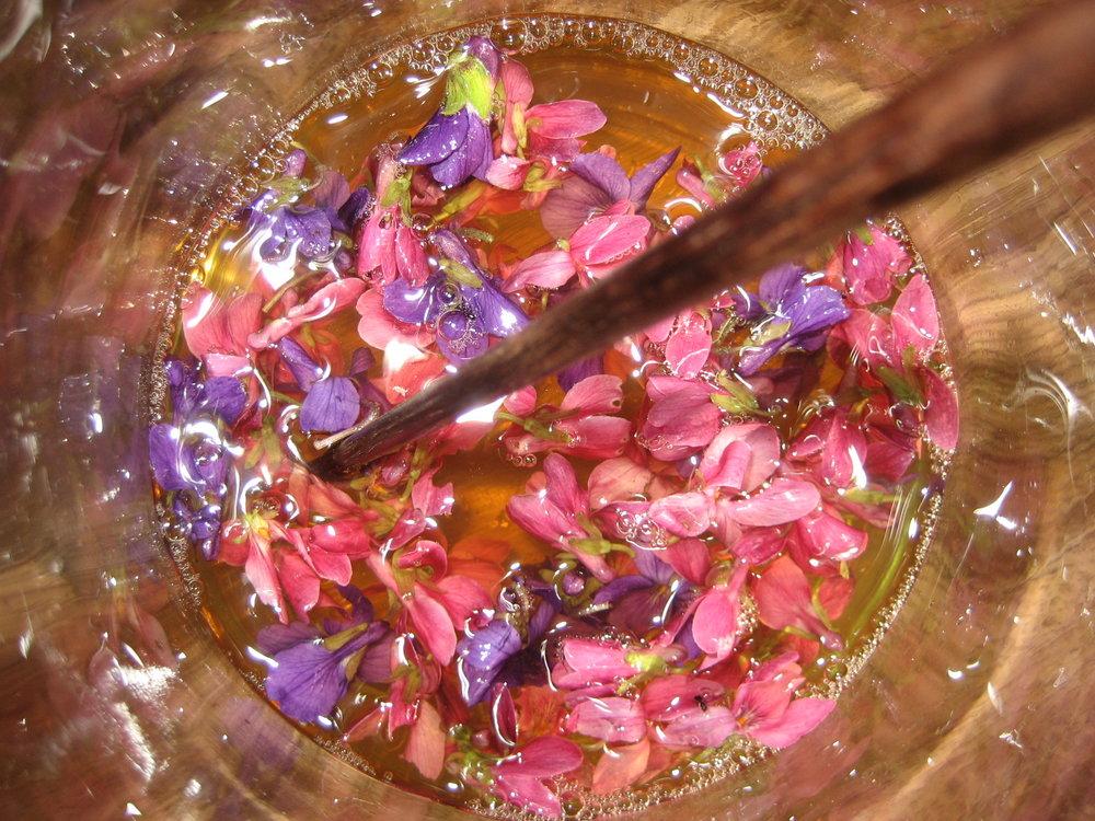 image of violet vinegar herb infusion by Odette Rowe