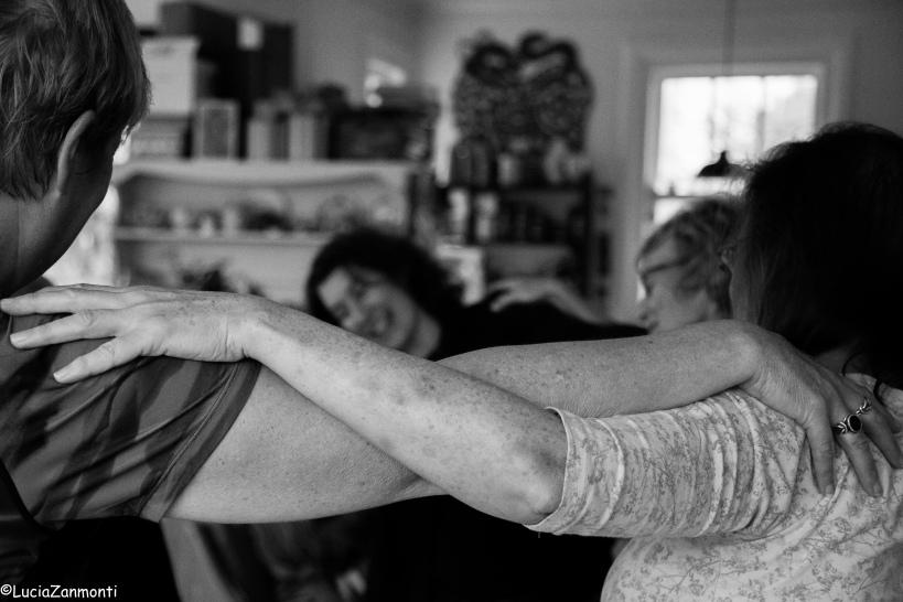 women in a yoga pose at Odette Rowe's Wairarapa Yoga Snug