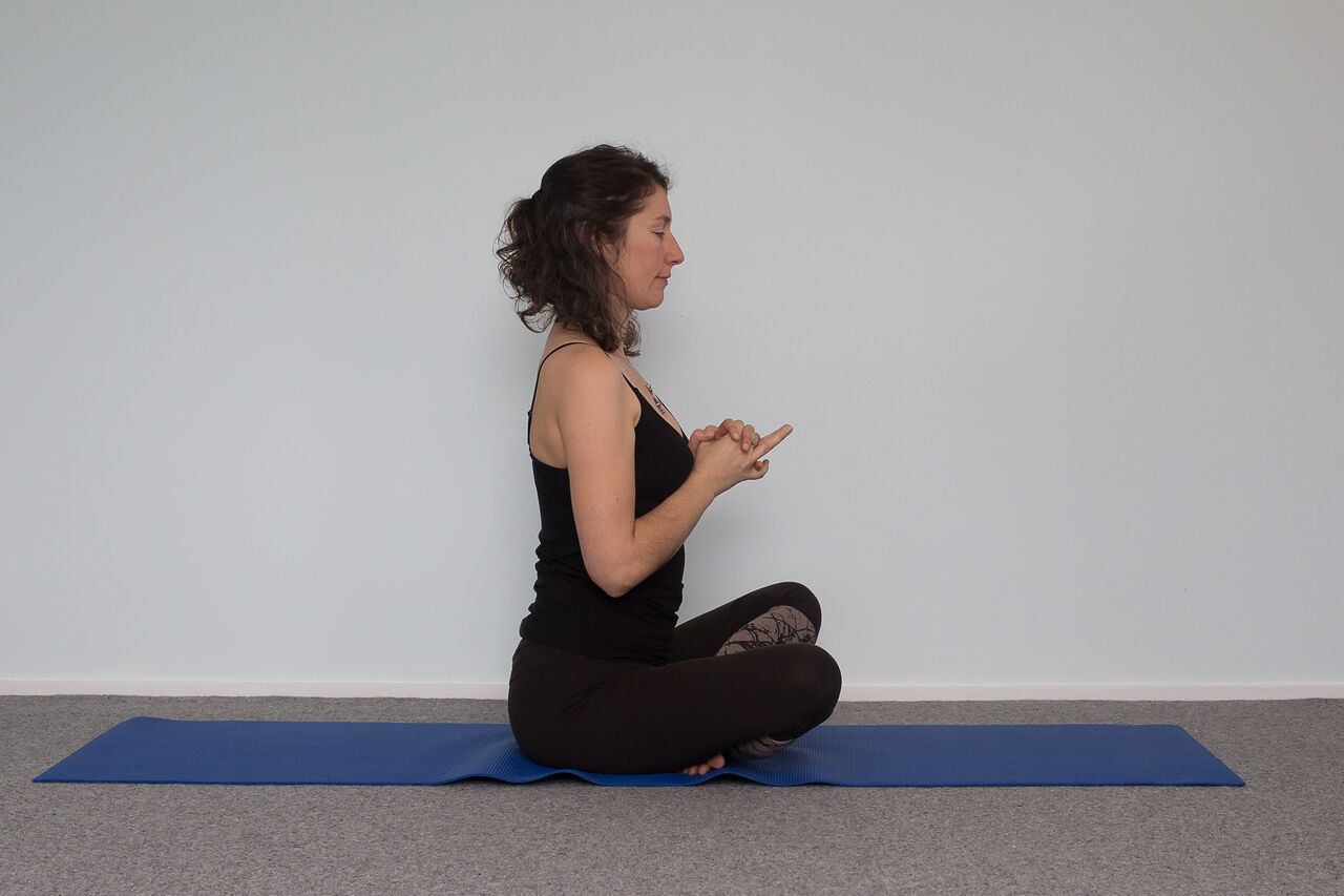 Odette Rowe in yoga pose