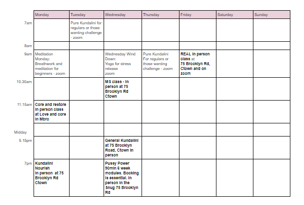 April Timetable 2021